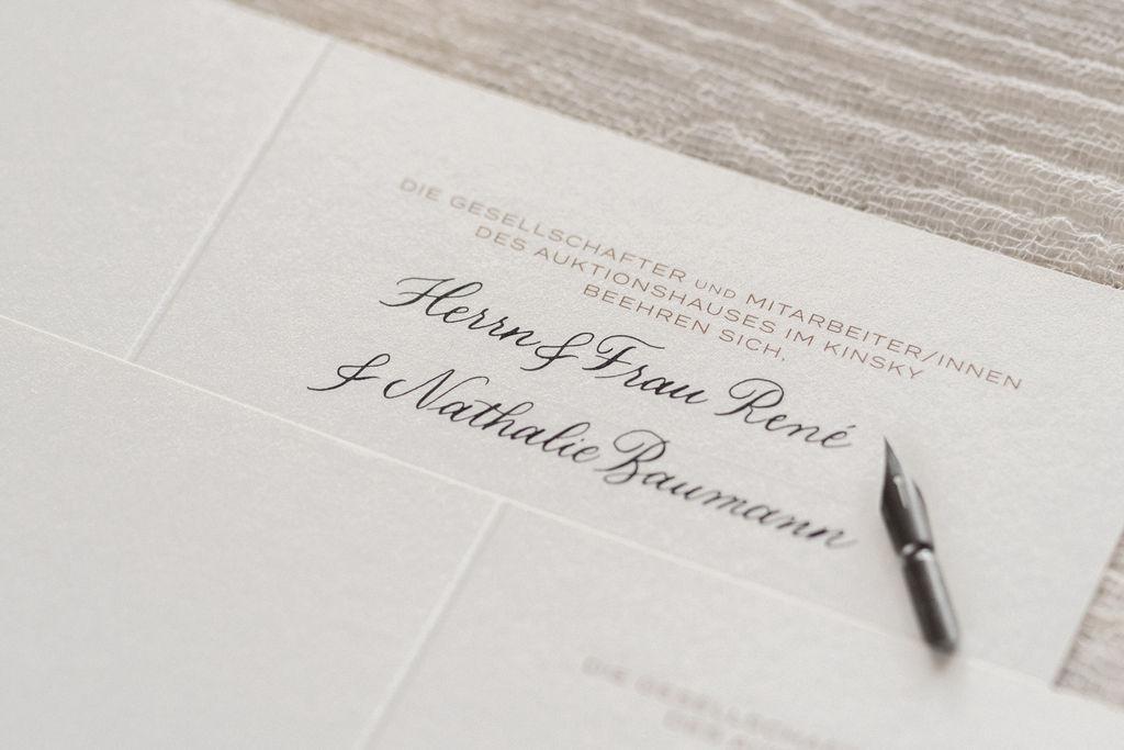 auktionshaus einladung kalligraphie