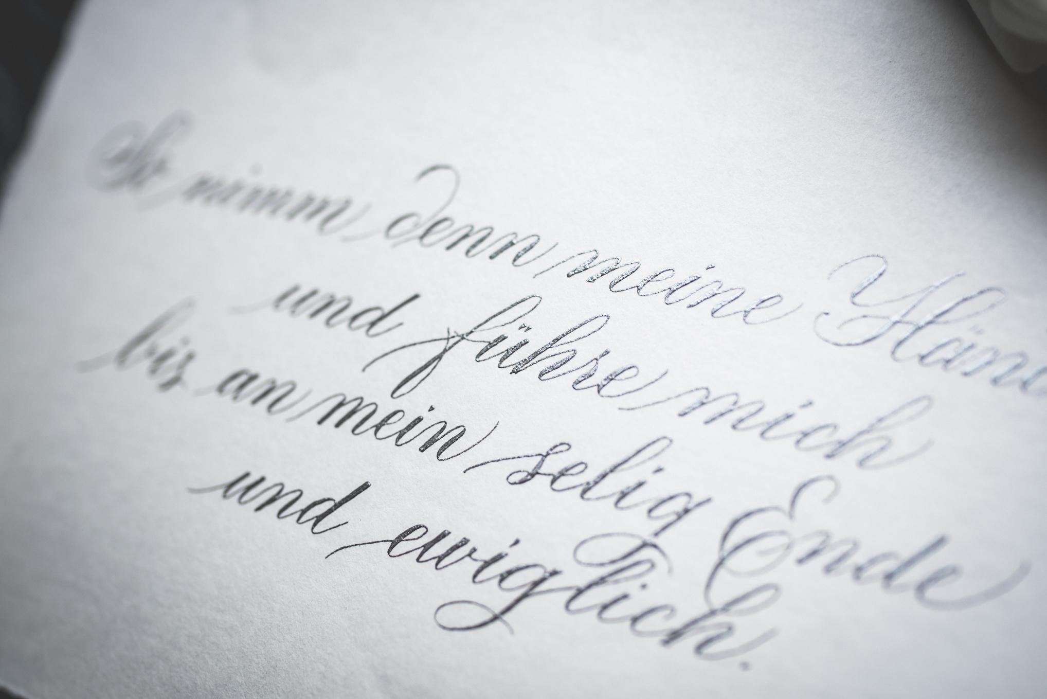 kalligraphie liebesbrief silber
