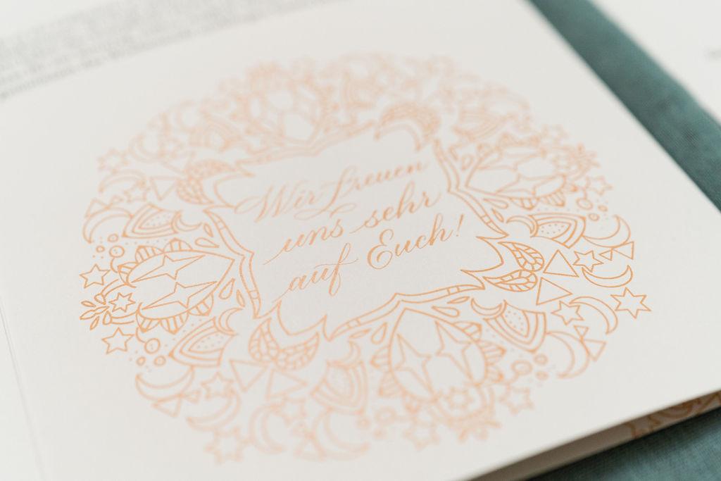 hochzeitskalligraphie peach