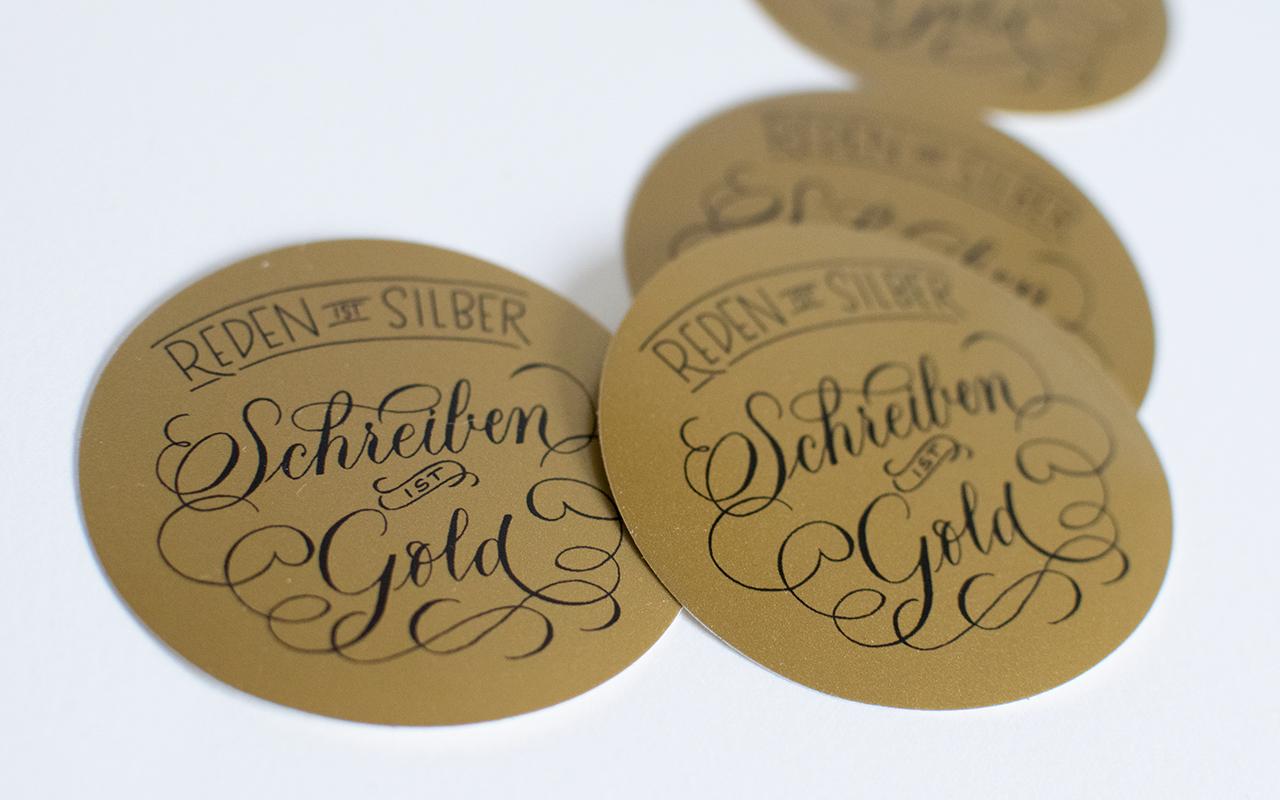 Schreiben-ist-Gold-Sticker